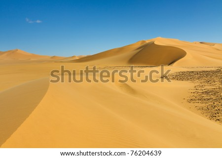 Beautiful Sand Dune at Erg Tamesset, Sahara Desert, Libya - stock photo