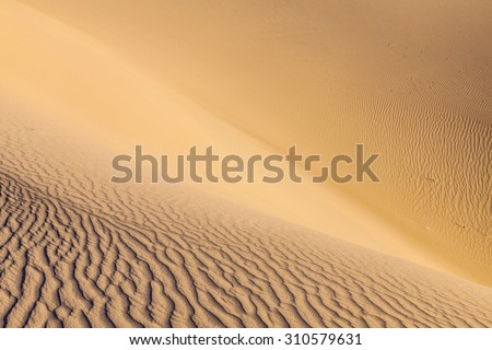 beautiful sand dune in sunrise in the desert - stock photo