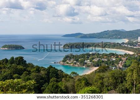 Beautiful sand sea Top View Likes Number 3 at Phuket,Thailand - stock photo