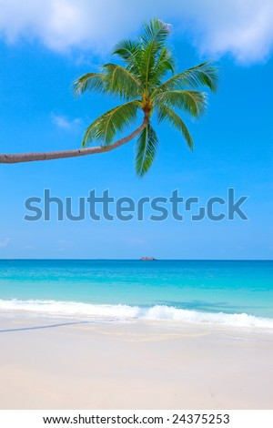 Beautiful sandy beach with crystal clear blue water and blue skies. - stock photo