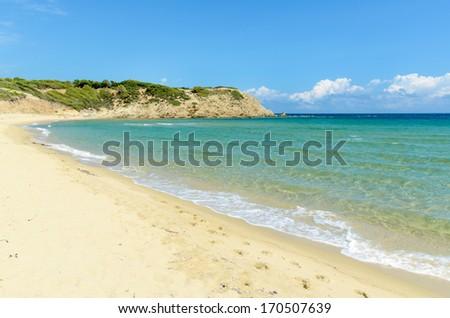 Beautiful sandy beach with crystal clear sea - Skiathos, Greece - stock photo