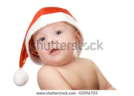 Beautiful santa baby boy on isolated  a white background