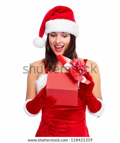 Beautiful Santa helper christmas girl with gift isolated on white background.