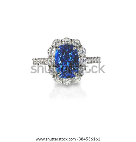 Beautiful sapphire and diamond wedding engagement ring gemstone center stone - stock photo