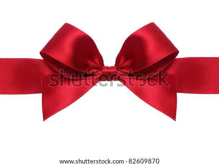 Beautiful satin gift bow, isolated on white - stock photo