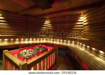 Beautiful sauna interior - stock photo