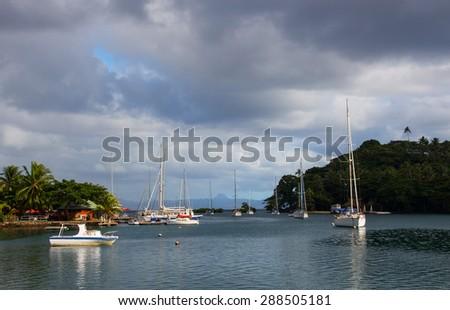 Beautiful Savusavu Bay, Fiji - stock photo