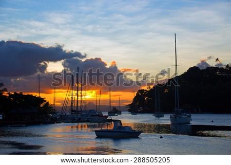 Beautiful Savusavu Bay, Fiji at sunset - stock photo