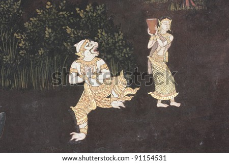 Beautiful Scene Painted on a Temple Wall - stock photo