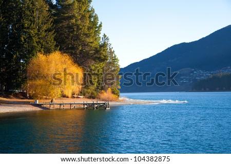 Beautiful scenery autumn at the Wakatipu lake Queenstown Southern island New Zealand - stock photo