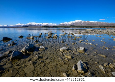 Beautiful scenery by the lake under the blue sky in south island, New Zealand. Nature composition,grain and noise effect,soft focus and vibrant colours.