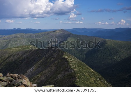 beautiful scenery in the mountains of Siberia, Russia, Cherskiy - stock photo