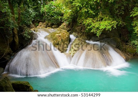 Beautiful scenery in wilderness of the tropical forest in Thailand, Kanchanaburi Province. - stock photo