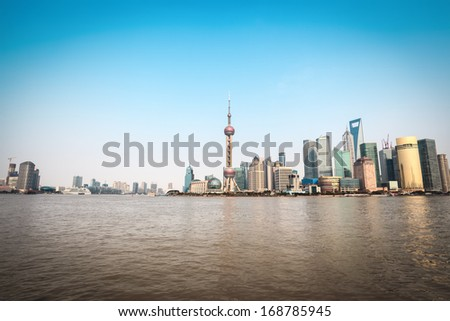 beautiful scenery of shanghai,huangpu river with cityscape skyline