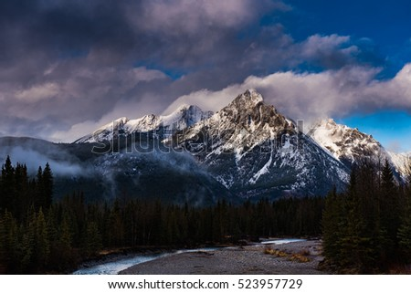 Beautiful scenery of the Canadian Rocky Mountains in autumn in Kananaskis Country Alberta