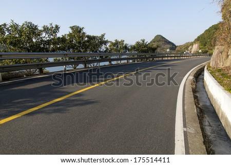 Beautiful scenery of the coastal road - stock photo
