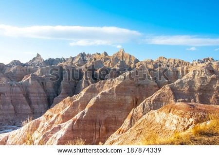 Beautiful scenery of the erosion formations in Badlands National Park, South Dakota. - stock photo