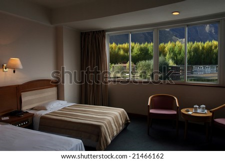 Beautiful scenery out of the window - stock photo