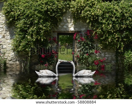 Beautiful scenery with loving swans in Venice Italy guarding a secret entrance to a heavenly garden