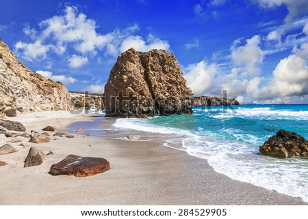 beautiful scenic beaches of Greek islands - Fyriplaka on Milos island - stock photo