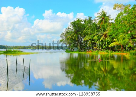 Beautiful scenic landscape - tropical palm forest and fishing device reflected at calm pure Tissa Wewa lake water against the background of dramatic cloudy blue sky, Sri Lanka island, South Asia