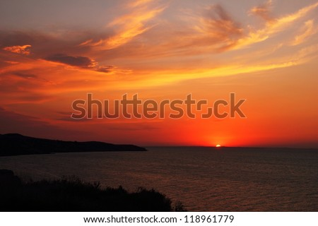 Beautiful scenic landscape with dramatic cloudy sky at sunset in Taman, Azov sea, Krasnodar Krai, Russia, august - 2012 - stock photo