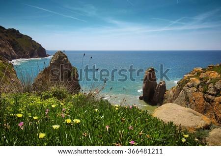 Beautiful scenic of portuguese coastline in Roca Cape - stock photo