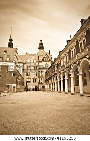 Beautiful scenic street in Dresden, Germany. Vintage style - stock photo