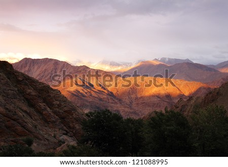 Beautiful scenic view of colorful Sunset in Hemis, Leh district, Ladakh range, Jammu & Kashmir, Northern India - stock photo