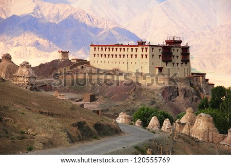 Beautiful scenic view of Kings palace in Stok against the background of distant colorful mountain, Leh district, Ladakh range, Jammu & Kashmir, Northern India - stock photo