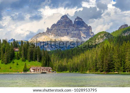 Beautiful scenic view of Lake misurina (lago di Misurina) with Three Peaks of Lavaredo (Tre Cime di Lavaredo) mountain as background, Province of Belluno, Veneto, Italy.