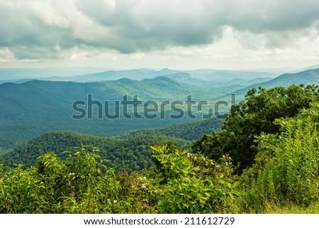 Beautiful scenic view of the Appalachian mountains along the Blue Ridge Parkway - stock photo