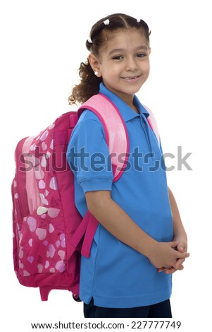 Beautiful School Girl with Backpack Isolated on White Background - stock photo