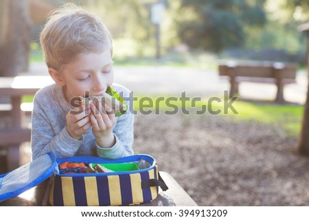 beautiful schoolboy eating sandwich for lunch during recess time at school - stock photo