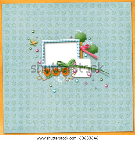 Beautiful scrapbook layout with photo frame - stock photo
