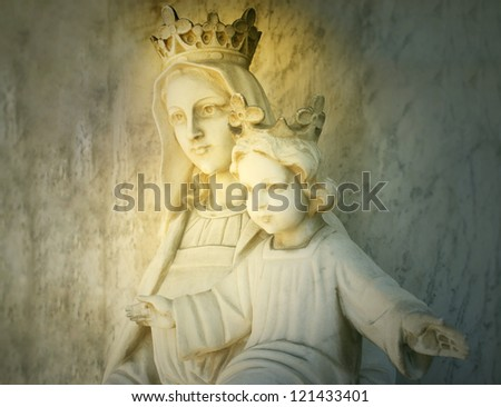 Beautiful sculpture of the virgin Mary and Baby Jesus - stock photo