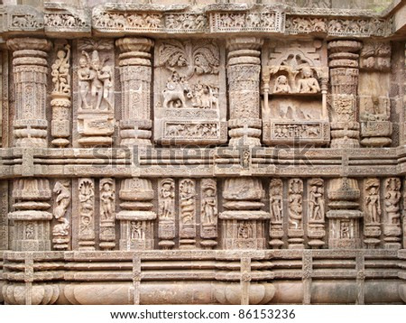 Beautiful sculptures showing giraffes and elephants, Sun temple Konark - stock photo