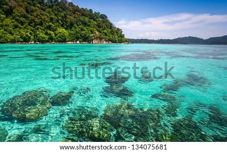 Beautiful sea and beach at tropical island, Koh Lipe, Andaman Sea, Thailand - stock photo