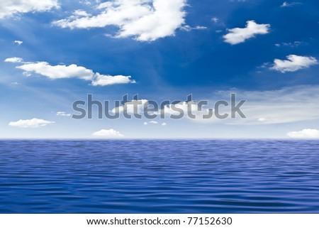 beautiful sea and blue sky - stock photo