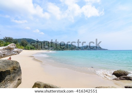 Beautiful sea and blue sky at Kata noi beach in phuket Thailand. - stock photo