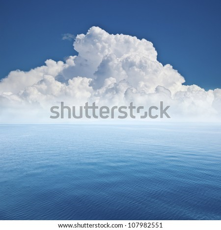 beautiful sea and cloud sky at the horizon, seascape background - stock photo