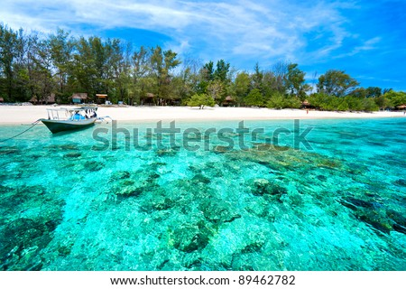 Beautiful sea and coastlines of Gili Meno, Indonesia. - stock photo