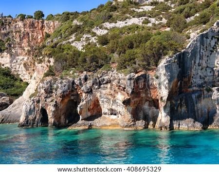 Beautiful sea and rocks. Zakynthos Island, Greece - stock photo