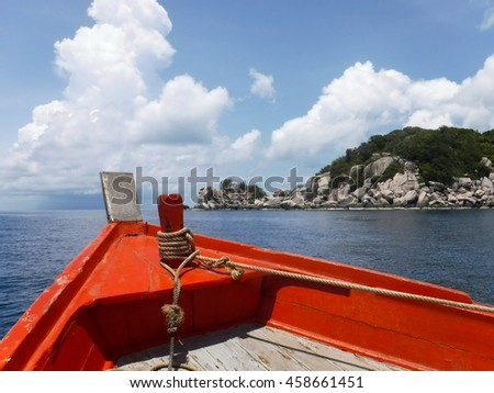 Beautiful sea and sky view from wooden boat