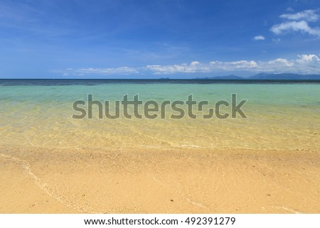 Beautiful sea, beach and blue sky at Koh samui, Thailand.