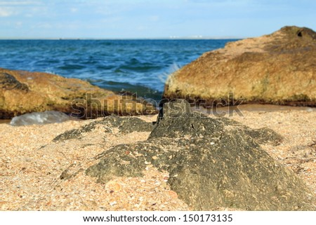 Beautiful sea coast with sand and stones