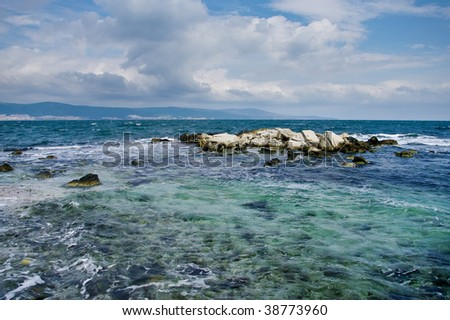 Beautiful sea cost with rocky surface