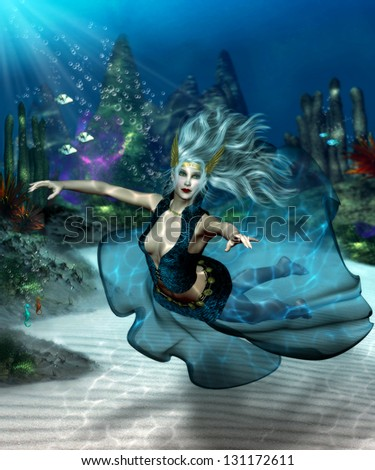 Beautiful sea goddess with long flowing blonde hair in an underwater scene wearing an aqua and teal flowing skirt. - stock photo
