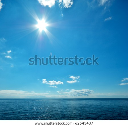 Beautiful sea horizon. Tranquil scene. Element of design - stock photo