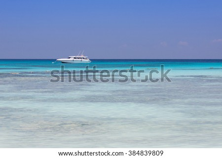Beautiful sea landscape and high-speed boat